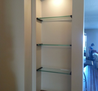 Built-In Glass Shelves