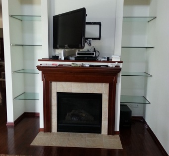 Custom Built-In Glass Shelves