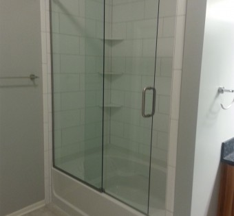 custom frameless glass shower enclosure mn sliding door