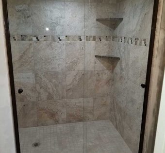 Bronze Semi-Frameless Shower Door