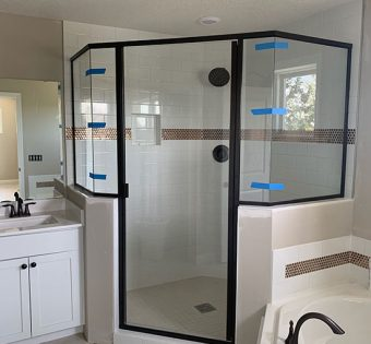Black Hexagon Semi-frameless Shower